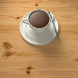 3D Rendering cup of coffee with spoon top view on wood background 2
