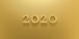 3D Illustration 2020 Gold Text