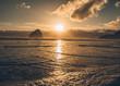 golden sunset at beach