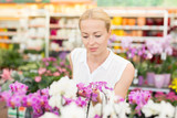 Beautiful female customer smelling colorful blooming orchids in retailer's greenhouse.