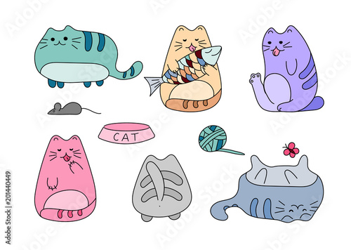 Vector image with funny hand drawn cats. Animals vector illustration with adorable white kitties. - 201440449