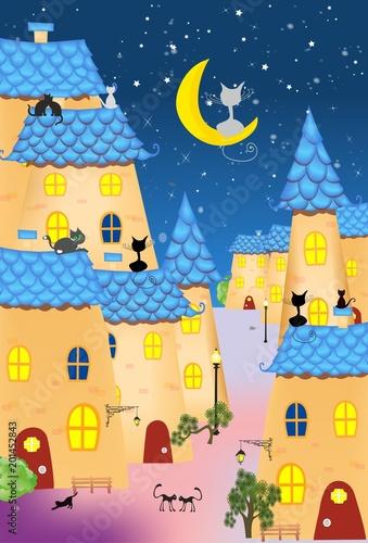 miasteczko z niebieskimi dachami