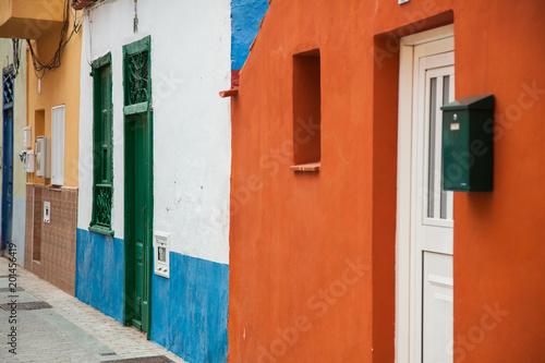 Plexiglas Baksteen Beautiful mountain village San Andres in Tenerife. Multicolored buildings in Canary islands
