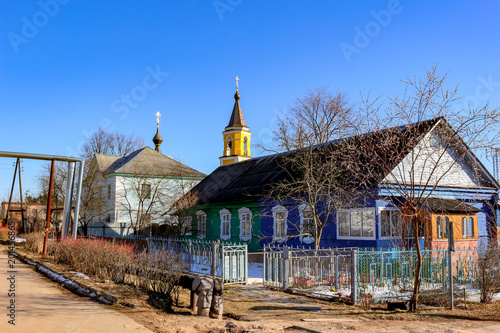 DETCHINO, RUSSIA - MARCH 2016: Streets and courtyards of Detchino village, Maloyaroslavetskiy district, Kaluzhskaya region