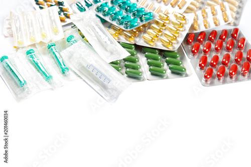 Foto Murales Pills capsules white background Health care