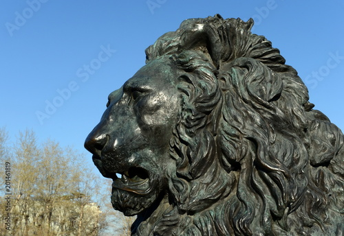 Bronze lion sculpture-a fragment of the monument to Emperor Alexander II. Moscow.