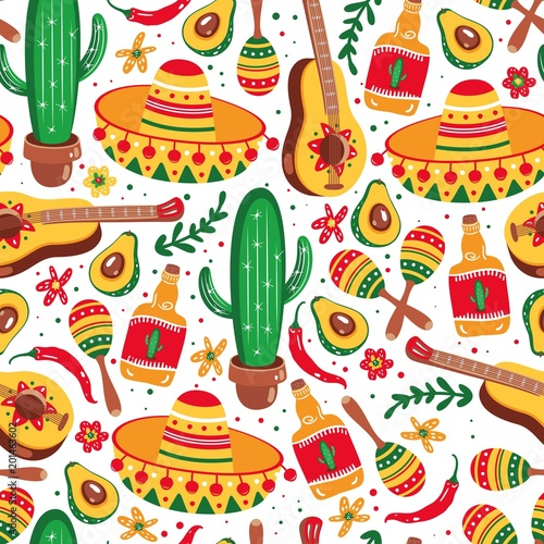 Mexican seamless pattern. Guitar, sombrero, maracas, cactus, jalapeno and tequila. © Daria