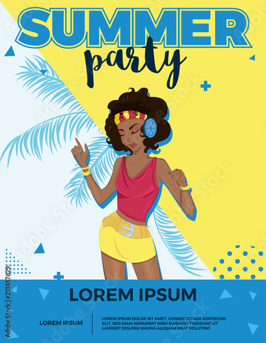 Summer party bright vector poster with dancing girl.