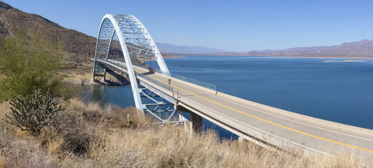 Bridge over the Salt River at Theodore Roosevelt Dam at Hwy 188, AZ, USA