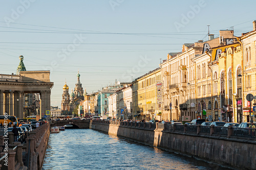 Fridge magnet Historic buildings along the Griboedov channel in Saint Petersburg, Russia
