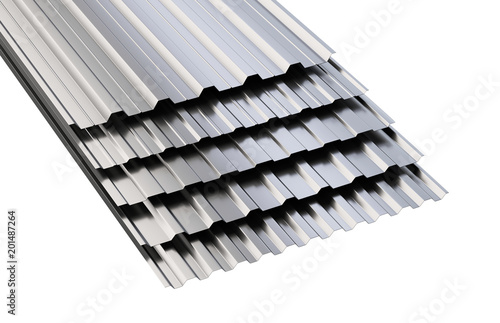 Metal corrugated roof sheets stack. - 201487264