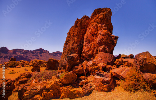 Fotobehang Bruin Volcano Teide and lava scenery in Teide National Park, Rocky volcanic landscape of the caldera of Teide national park in Tenerife, Canary Islands, Spain