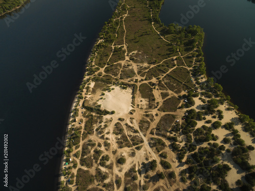 Foto op Canvas Natuur aerial view of sandy island in middle of river