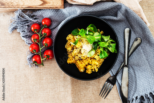 Fototapeta Radiatori pasta in a creamy tomato parmesan cheese sauce