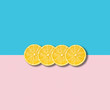Minimal abstract illustration with group of lemon slices on pastel background - 201496052