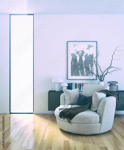 Nowożytna jaskrawa wnętrze pokoju 3D renderingu ilustracja