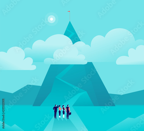 Foto Spatwand Turkoois Vector business concept illustration with businessmen, women standing in front of mountain pic & watching on top. Metaphor for growth, new aim & goal, team work & partnership, aspiration, motivation.
