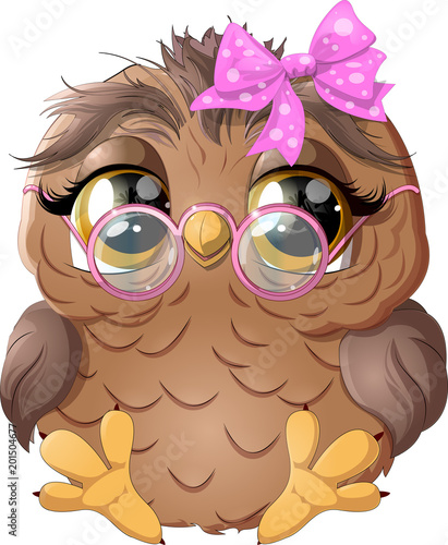 Fotobehang Uilen cartoon beautiful owl drawing