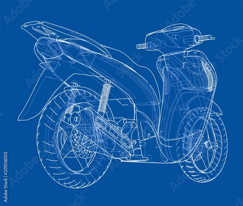 Scooter outline concept. Vector