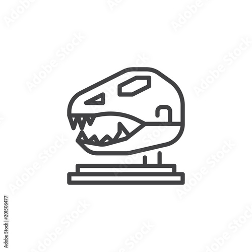 Fototapeta Dinosaur Skull in Paleontological Museum outline icon. linear style sign for mobile concept and web design. T-Rex Skull simple line vector icon. Symbol logo illustration. Pixel perfect vector graphics