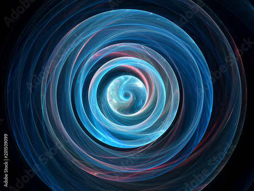 Blue glowing wavy spin in space, gravitational waves