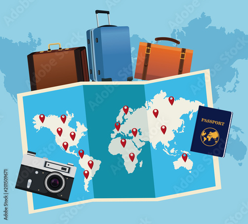 Travel around the world concept vector illustration graphic design