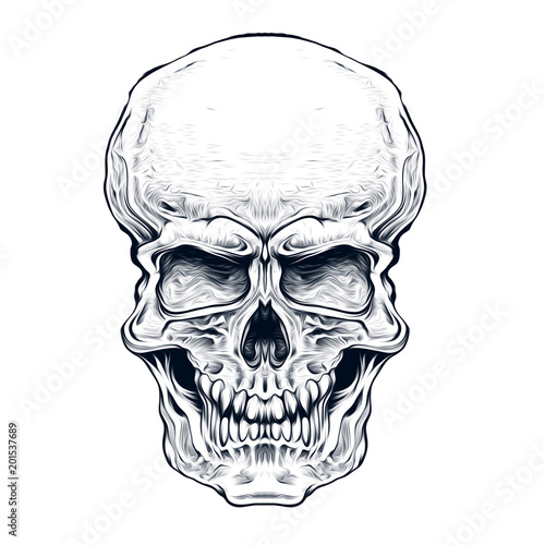 Aluminium Reznik Иллюстрация злого черепа на белом фоне