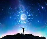 Woman Consulting The Stars - Zodiac Signs In The Sky - 201539887