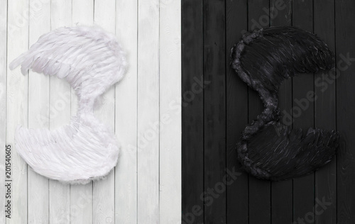 black and white angel wings on a black and white background - 201540605