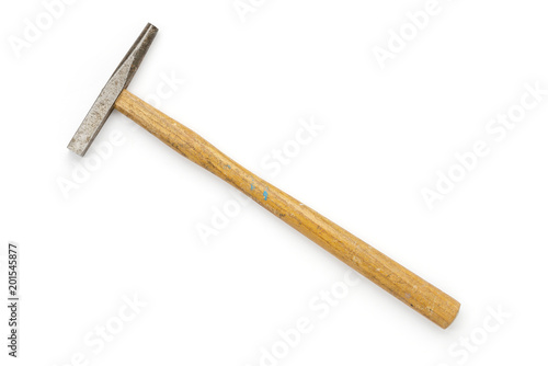 Small, old hammer, isolated on white