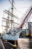 old sailing ship, frigate at anchor in the port - 201547860