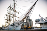 old sailing ship, frigate at anchor in the port - 201547874