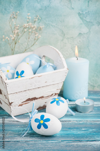White blue easter eggs
