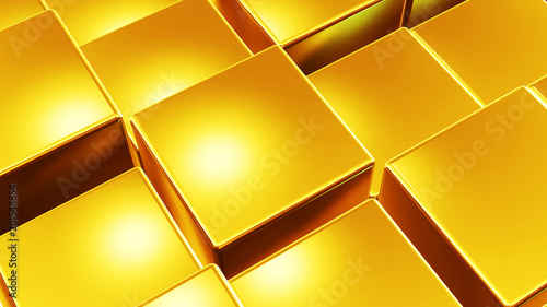 Abstract 3d golden business background made of metallic boxes