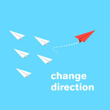 red paper airplane flies in the opposite direction from a group of other airplanes, isometric image - 201552072