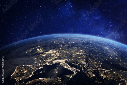 Leinwandbild Motiv Europe at night from space, city lights, elements from NASA