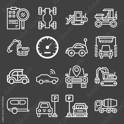 Set of 16 transport outline icons