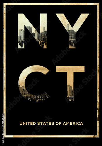 Fotobehang Vintage Poster New york typography T shirt graphic fashion design poster