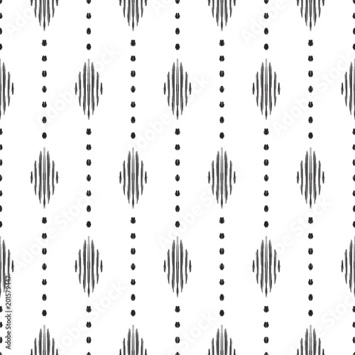Black And White Ikat Tribal Textile Modern Pattern Seamless Background Graphic Design For Cover