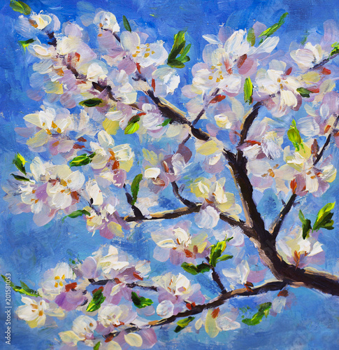 Macro close-up spring flowering branch of an apricot tree on background of blue sky. Plein Air, Etude, oil painting White yellow red flowers on a branch of a tree impressionism floral artwork.
