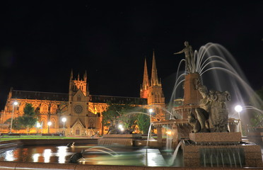 Hyde park night cityscape Sydney Australia
