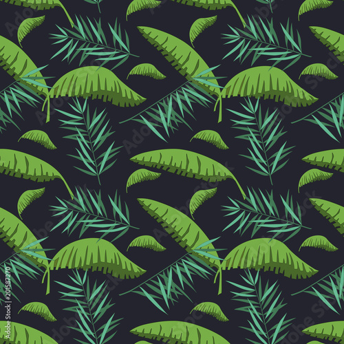 seamless pattern with palm and banana leaves