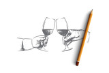 Party time concept. Hand drawn male hands with glass of wine. Hands of persons clink glasses with alcohol isolated vector illustration. - 201588637