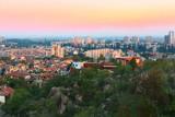 Plovdiv, Bulgaria city aerial skyline panorama and colorful sky - 201590234