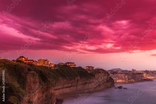 Aluminium Zee zonsondergang Falaises Biarritz