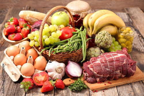 fruit, vegeable and meat