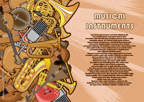 Fototapeta Musical instruments painted on a poster