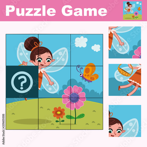 Puzzle education game for preschool children with fairy character. (Vector illustration)