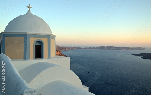 Plexiglas Santorini Church of Santorini, Cyclades, Greece