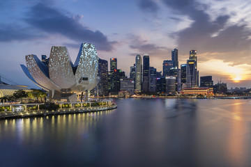 Skyline of Singapore with sunset and city light